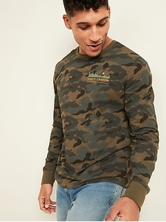 Soft-Washed Camo Graphic Long-Sleeve Tee for Men