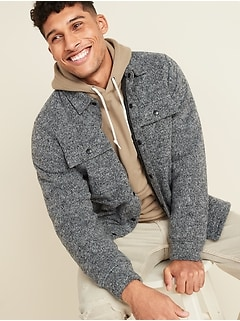 Veste-chemise en tricot de molleton pour homme