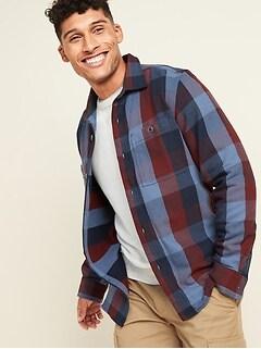 Regular-Fit Plaid Twill Shirt Jacket for Men