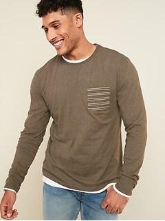 T-shirt à manches longues au fini soyeux avec poche à motifs pour homme