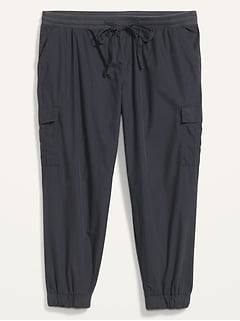Mid-Rise Rib-Knit Waist Soft-Woven Plus-Size Cargo Jogger Pants