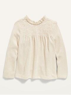Cozy Smocked-Yoke Long-Sleeve Top for Toddler Girls