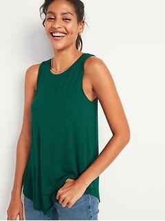Luxe High-Neck Slub-Knit Tank Top for Women
