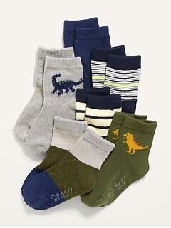 Unisex 6-Pack Printed Crew Socks for Toddler & Baby
