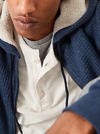 Cozy Sherpa-Lined Thermal-Knit Zip Hoodie for Men