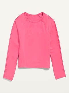 Fitted Go-Dry Long-Sleeve Seamless Tee for Girls