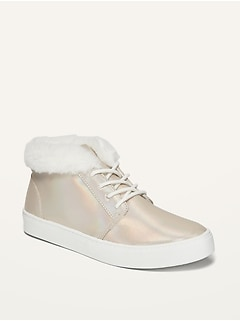 Faux-Fur-Lined Iridescent Mid-Top Sneakers for Girls