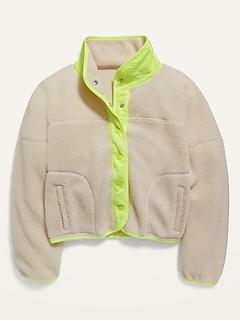 Sherpa/Nylon Hybrid Jacket for Girls