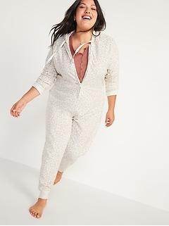 Pyjama une-pièce à capuchon en micromolleton Performance Fleece à motifs, taille forte