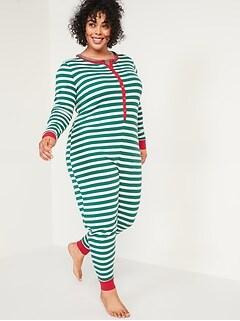 Pyjama une-pièce en tricot gaufré à motifs, taille forte