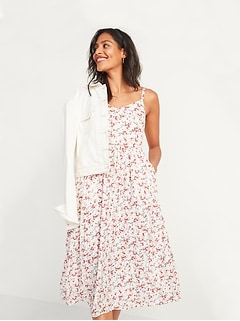 Floral-Print Fit & Flare Cami Midi Dress for Women