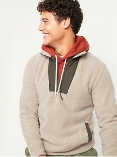 Cozy Sherpa Half-Zip Mock-Neck Sweatshirt for Men