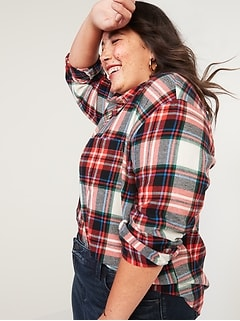 Chemise à carreaux, coupe boyfriend, «sans ouverture» en flanelle, Taille forte
