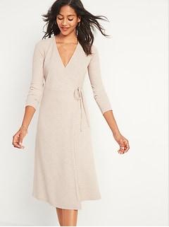 Robe portefeuille mi-longue en tricot côtelé à encolure enV pour femme