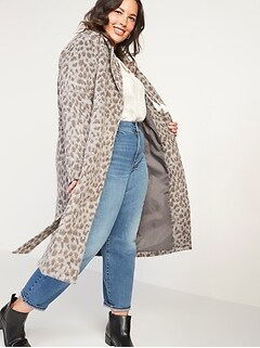 Oversized Soft-Brushed Leopard-Print Plus-Size Tie-Belt Coat