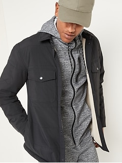 Water-Resistant Sherpa-Lined Quilted Shirt Jacket for Men