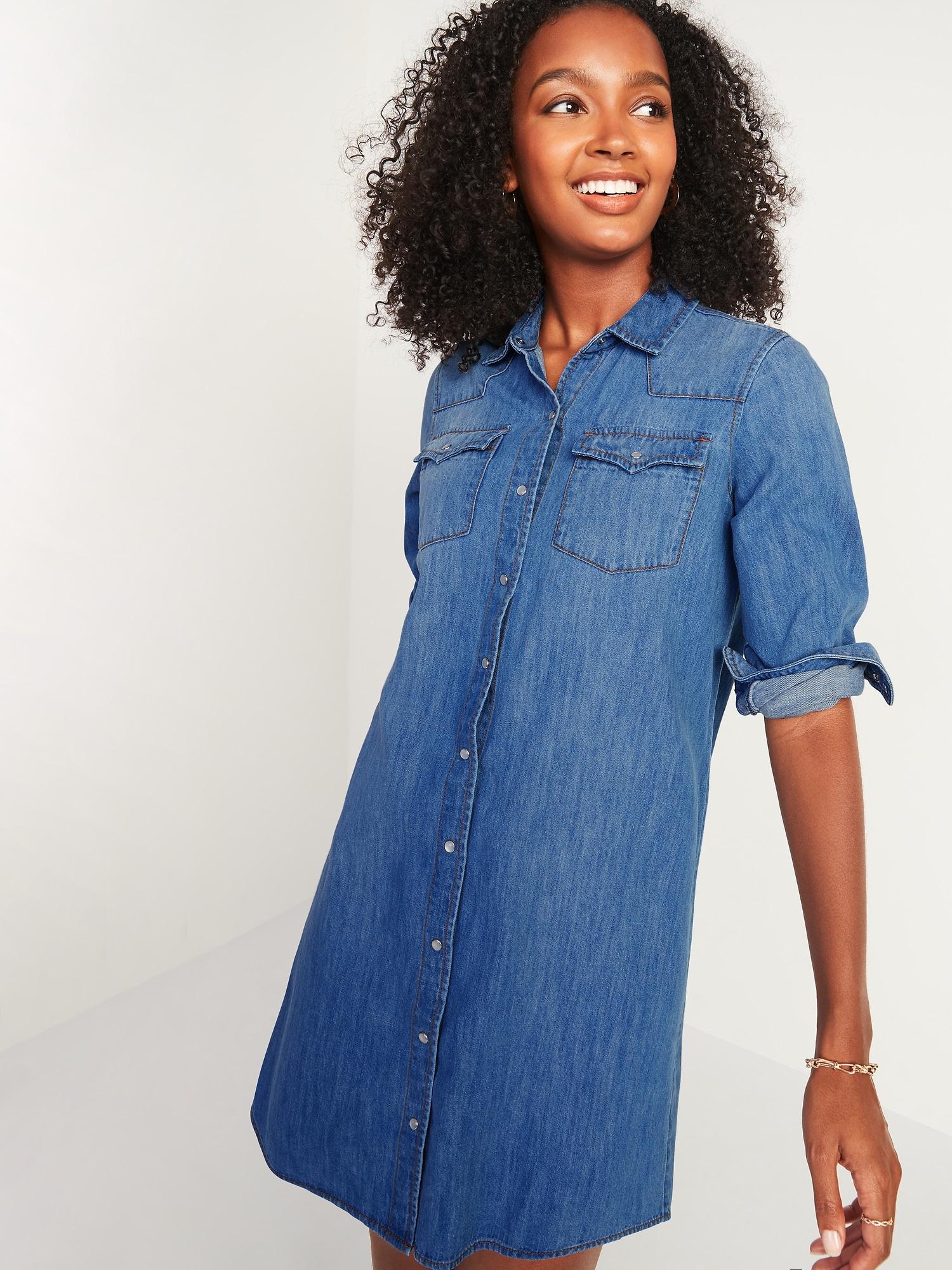 Western Jean Shirt Shift Dress for Women