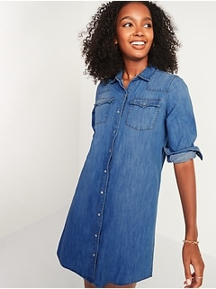 Western Jean Shirt Shift Dress for Women