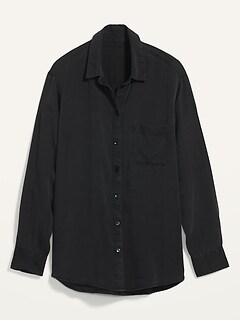 Oversized Boyfriend Black Chambray Shirt for Women
