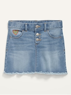 Embroidered-Heart Button-Fly Frayed-Hem Jean Skirt for Toddler Girls