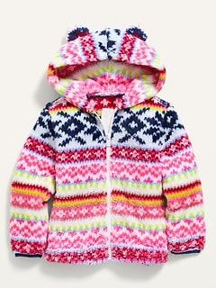Fair Isle Hooded Sherpa Critter Jacket for Toddler Girls