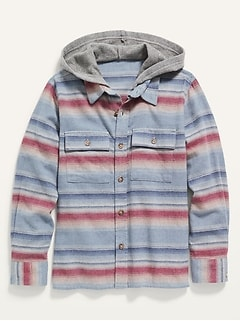 Gender-Neutral Built-In Flex Flannel Utility Hoodie for Kids