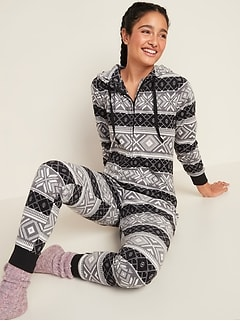 Patterned Micro Performance Fleece Hooded One-Piece Pajamas for Women