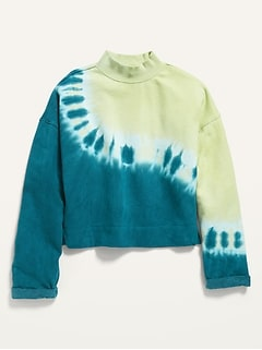 Vintage Mock-Neck Cropped Sweatshirt for Girls