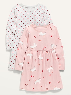 Robe ajustée et évasée en jersey à imprimé pour toute-petite fille (paquet de2)