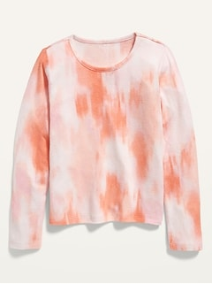 Cozy Tie-Dye Cropped Pullover Sweater for Girls
