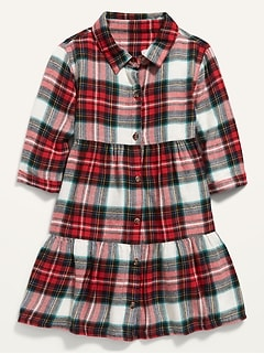 Plaid Tiered Shirt Dress for Toddler Girls