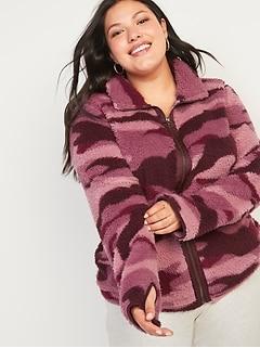 Cozy Teddy-Sherpa Plus-Size Full-Zip Jacket
