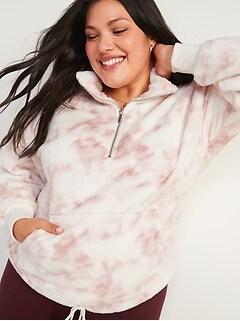 Loose Cozy Faux-Fur Half-Zip Cinch-Hem Plus-Size Sweatshirt
