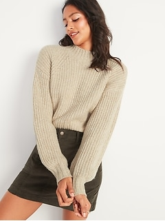 Cozy Shaker-Stitch Mock-Neck Sweater for Women