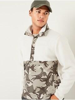 Sherpa Camo-Block Mock-Neck Henley Sweatshirt for Men