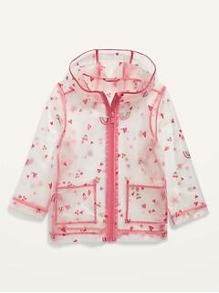Translucent Printed Hooded Rain Jacket for Toddler Girls