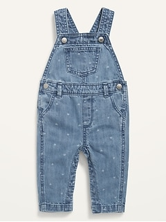 Heart-Print Jean Overalls for Baby