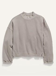 Vintage Mock-Neck Cropped Sweatshirt for Girls