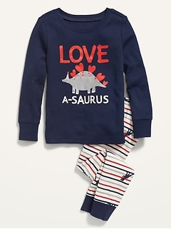 Unisex Valentine-Graphic Pajama Set For Toddler & Baby