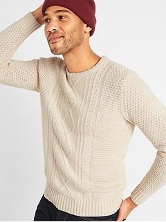 Textured Cable-Knit Crew-Neck Sweater for Men