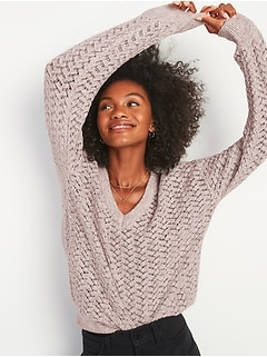 Textured Pointelle Space-Dyed V-Neck Sweater for Women