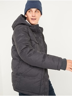 Textured Hooded Utility Puffer Jacket for Men