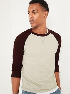 Thermal-Knit Color-Blocked Raglan-Sleeve Tee for Men