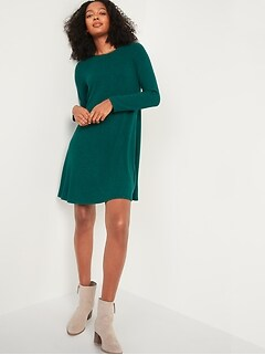 Plush-Knit Long-Sleeve Swing Dress for Women
