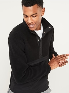 Sherpa Mock-Neck Henley Sweatshirt for Men