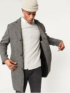 Soft-Brushed Houndstooth Topcoat for Men
