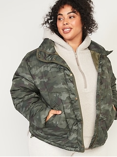 Camo Quilted Utility Plus-Size Puffer Jacket