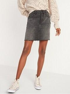 High-Waisted Black Frayed-Hem Jean Mini Skirt for Women