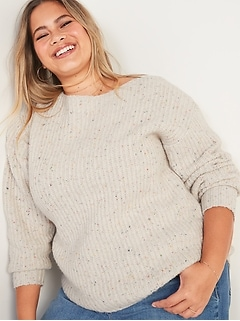 Slouchy Cozy Boat-Neck Plus-Size Sweater