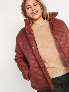 Lightweight Diamond-Quilted Nylon Plus-Size Puffer Jacket